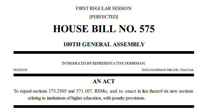 House bill 575. An act to repeal sections 173.2505 adn 571.107, RSMo, and to enact in lieu thereof six new sections relating to institutions of higher education, with penalty provisions.