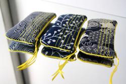 étuis lunettes- motifs traditionnels japonais surpiqués jaune
