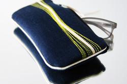 pochette lunette Zen' - bleu/ onde surpiquée jaune