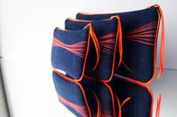 pochettes 3 tailles Zen' - bleu/onde surpiquée orange