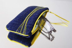 pochette lunette Zen' - jean/ onde surpiquée jaune