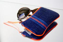 pochette lunette Zen'- bleu jean surpiqué bleu/orange