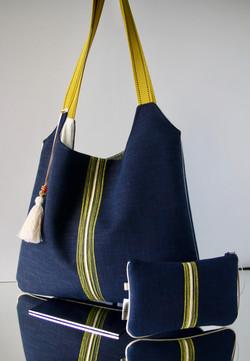 """sac """"kumi"""" Zen' bleu surpiqué jaune"""