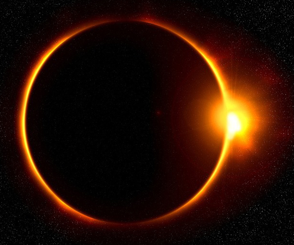 Solar eclipse with flare