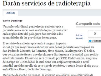 Listin Diario: DARÁN SERVICIOS DE RADIOTERAPIA