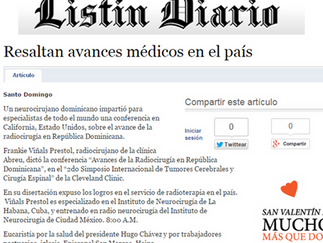 Listín Diario: RESALTAN AVANCES MÉDICOS EN EL PAÍS