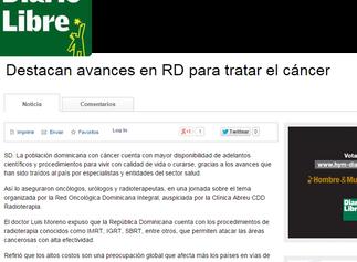 Diario Libre: DESTACAN AVANCES EN RD PARA TRATAR EL CÁNCER