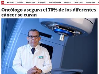 Oncólogo asegura el 70% de los diferentes cáncer se curan