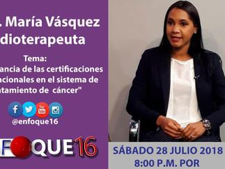 Entrevista televisada a la Dra. Vásquez