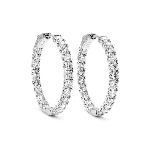 4.58 ctw Round Diamond Hoop Earrings | 14K white Gold