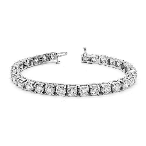 15.26 ctw Round Diamond Four Prong Tennis Bracelet | | 14K White Gold