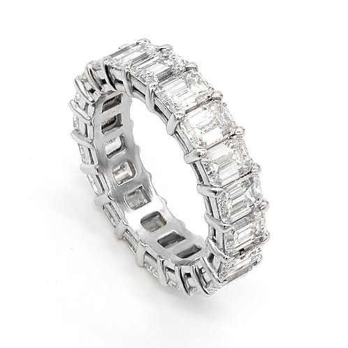 6.33 ctw F- VS1 Emerald Cut Diamond Eternity Band Platinum 950