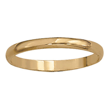 2mm 14k yellow gold band