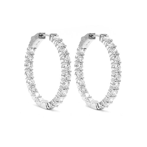 5.49 ctw Round Diamond Hoop Earrings | 14K White Gold