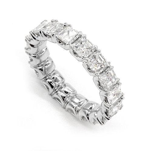 4.48 ctw F-VS1 Asscher Cut Diamond Eternity Band 18K White Gold
