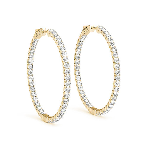 14k yellow gold diamond hoops