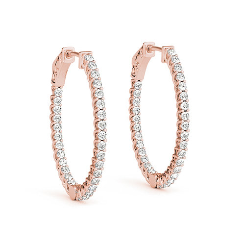 14k rose gold oval diamond hoops
