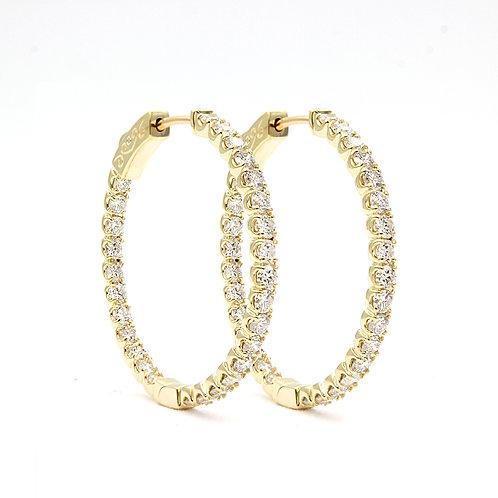 2.53 ctw Round Diamond Hoop Earrings | 14K Yellow Gold