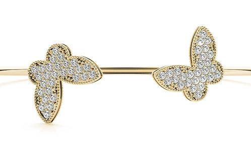 14k yellow gold diamond fashion bangle