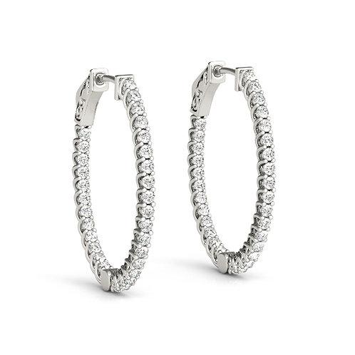 14k white gold oval diamond hoops