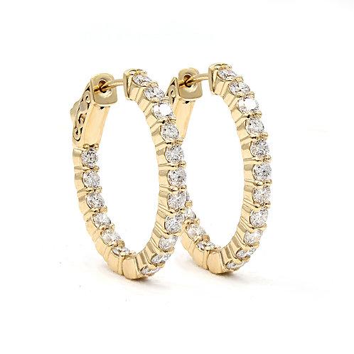 2.08 ctw Round Diamond Hoop Earrings | Oval Shape | 14K Yellow Gold