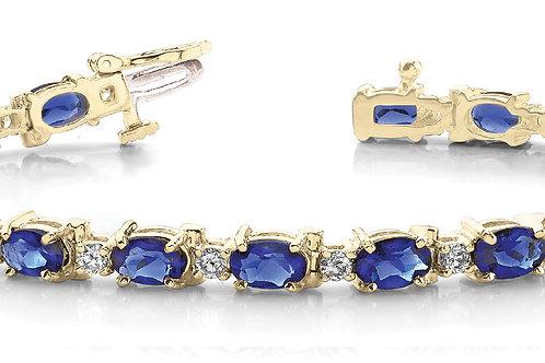 14k yellow gold diamond sapphire bracelet