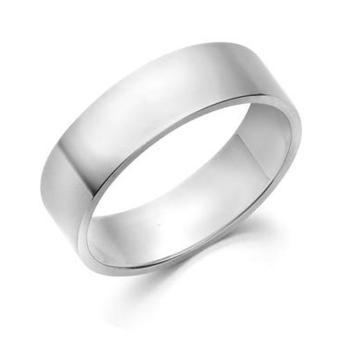 Flat 6mm white gold band