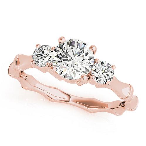 14k rose gold three stone ring
