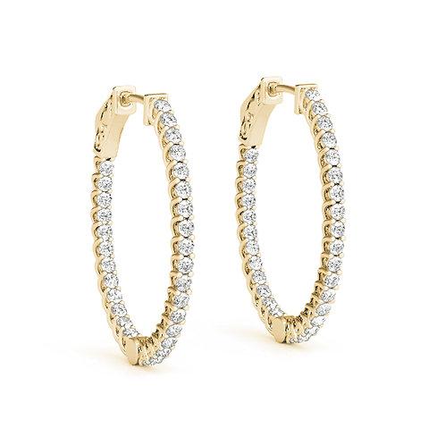14k yellow gold oval diamond hoops