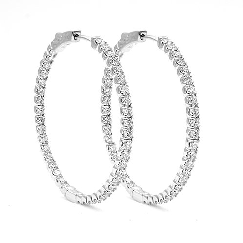 2.97 ctw Round Diamond Hoop Earrings | 14K White Gold