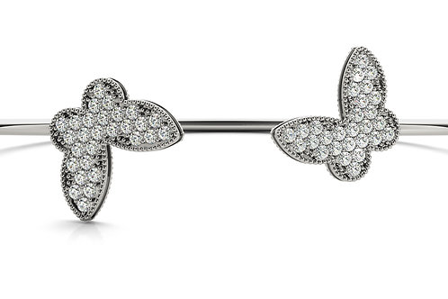 14k white gold diamond fashion bangle
