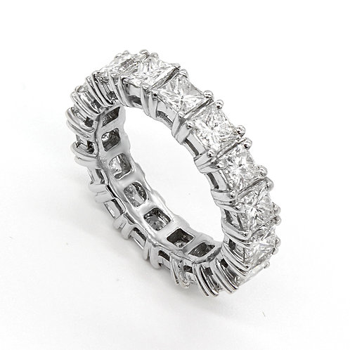 4.50 ctw  Princess Cut Diamond Eternity Band 14K White Gold
