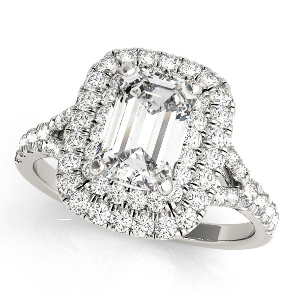 14k white gold 1/2ct diamonds center 6X4 emerald cut center diamond not included takes 2 week to complete style #R0951