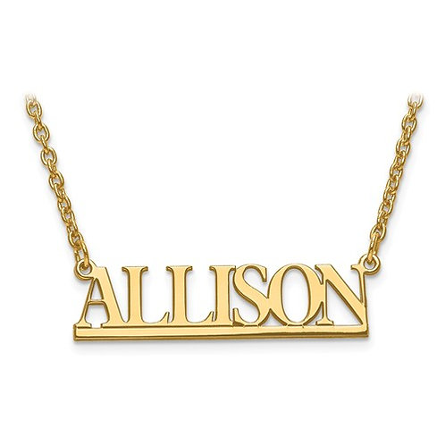 14k yellow gold single plate name plate