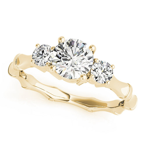 14k yellow gold three stone ring