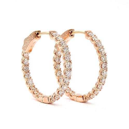 1.90 ctw Round Diamond Hoop Earrings | 14K Rose Gold