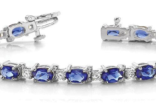 14k white gold diamond sapphire bracelet