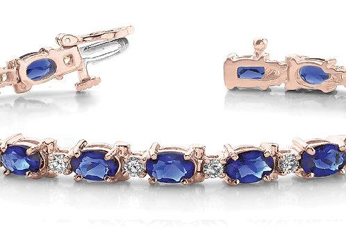 14k rose gold diamond sapphire bracelet