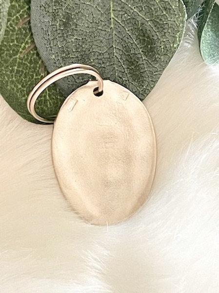 Porte clefs ovale petit modèle en Argent à graver selon votre choix