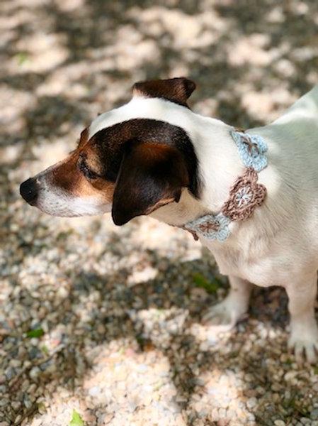 Collier pour chien en crochet CIEL BEIGE GALET