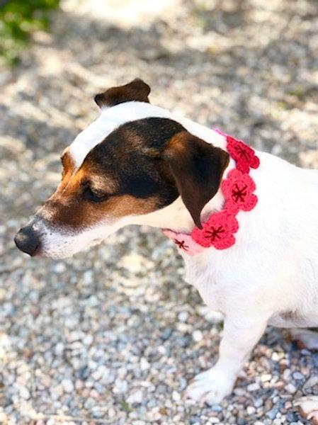 Collier pour chien en crochet ROSE PARME GALET