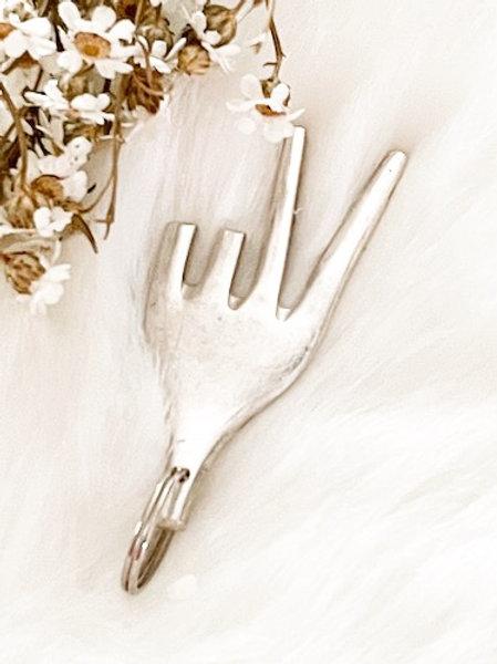 Porte clefs en argent Peace and  Love