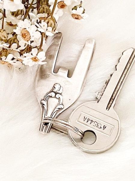 Porte clefs en argent Peace Rock