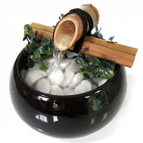 Fonte de Porcelana - bambu e pedras naturais (preto)