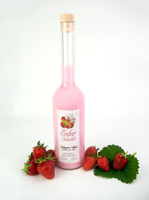 Erdbeer Sahnelikör 0,5 Liter 15 % vol.