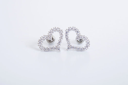 Gold Plated and Crystal Heart Stud Earrings
