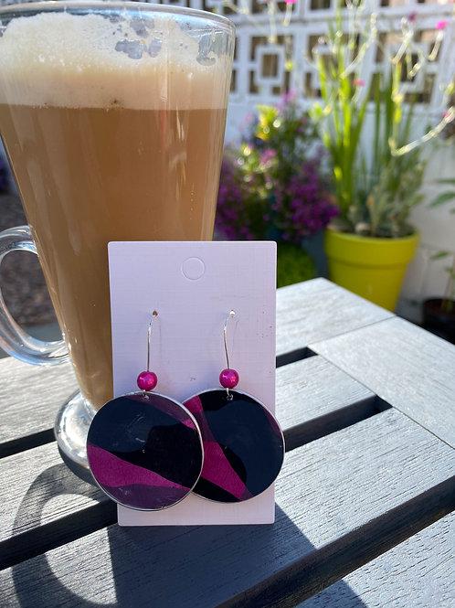 Black / Pink patterned earrings