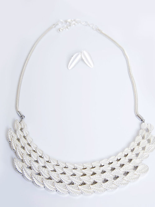 Silver Leaf Necklace and Earrings Set