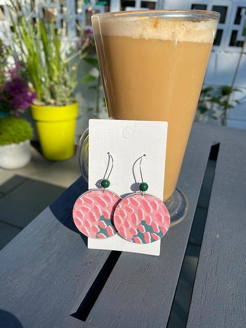 Pink pattern earrings