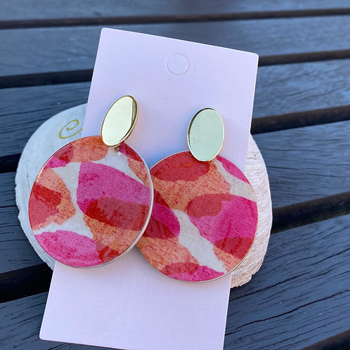 Pink Abstract patterned earrings